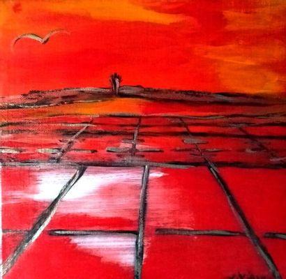 """VIVIANN """"Marais salants"""" Acrylique sur toile 20 x 20 cm signée.    Frais de transport..."""