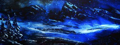 """WEBER Francois """"Nuit de neige"""" Huile sur bois  50 x 130 cm signée.    Frais de transport..."""
