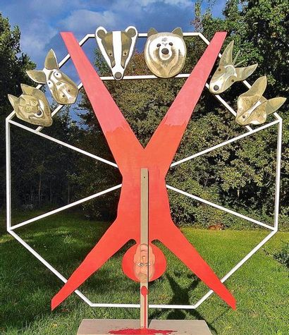 """WISE Sibille """"Tous les vivants"""" Sculpture en bois 115 x 115 cm signée.    Frais de..."""