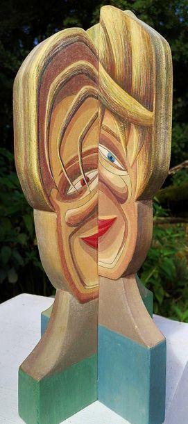 """WISE Sibille """"4visages"""" Sculpture en bois peint, 41 x 15 x 15 cm signée.    Frais..."""