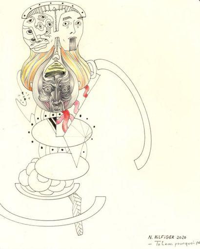 """ZOOM Nicolas """"Totem"""" Stylos pigma et crayons de couleurs sur papier 23 x 16,5 cm..."""