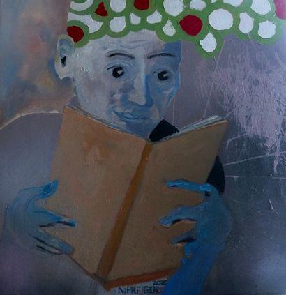"""ZOOM Nicolas """"Le Lecteur"""" Huile et acrylique sur toile 60 x 60 cm signée.    Frais..."""