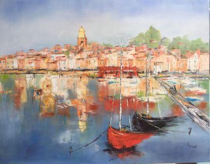 """A.DION """"Du côté de St Tropez"""" Huile sur toile 80 x 100 cm signée.    Frais de transport..."""