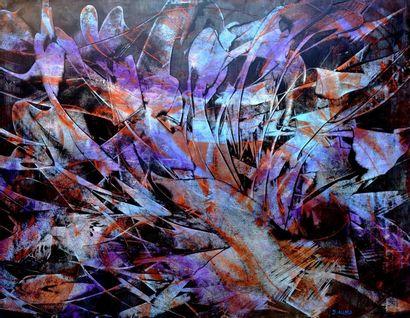 """ALLARD Michel """"Farfadets"""" Acrylique cires médiums, sur papier marouflé sur toile..."""
