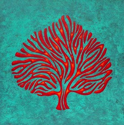 """MÉLOU Lucien """"Antic tree 1"""" Acrylique patinée sur toile 50 x 50cm signée.    Frais..."""