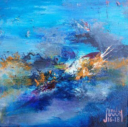 """ANDY Bleu """"Abstrait"""" Huile sur toile de 30 x 30 cm signée.    Frais de transport..."""