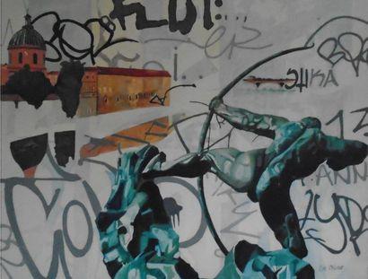 """OLIVIER Eve """"Toulouse"""" Huile sur toile 81 x 65 cm signée.    Frais de transport offerts..."""