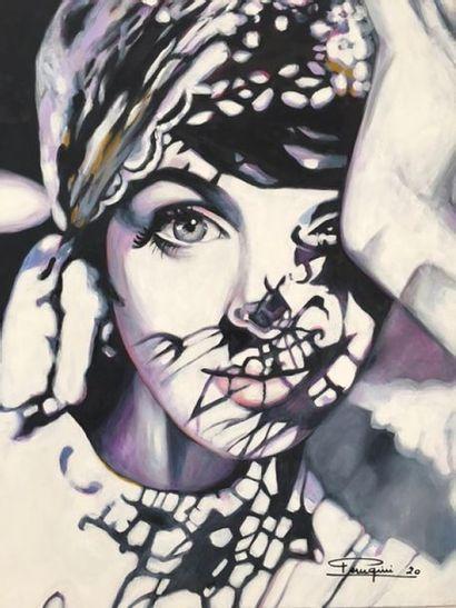 """PERUGINI Martine """"Ombres et lumière"""" Acrylique et huile sur toile 100 x 81cm signée...."""