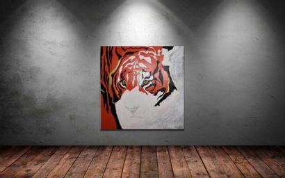 """QUINIO Christine """"Animal Spirit"""" Acrylique et pâte de texture sur toile 100 x 100..."""