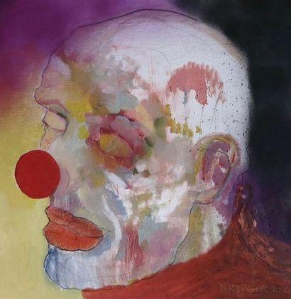 """ZOOM Nicolas """"Le Clown"""" Peinture à l'huile et aérosol sur toile 50 x 50 cm signée...."""
