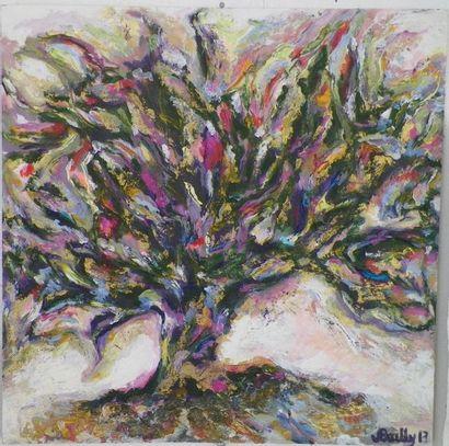 """BAILLY J """"Couleur"""" Acrylique sur toile 30 x 30 cm signée.    Frais de transport offerts..."""