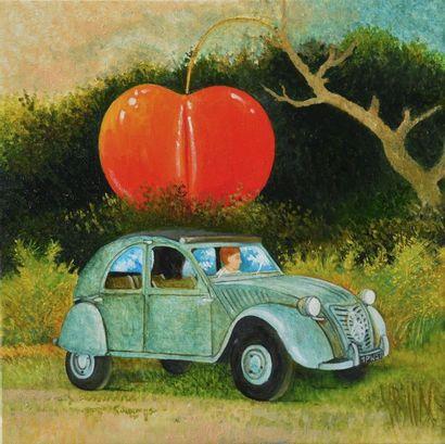 """BLIN Yves """"Le temps des cerises"""" Huile sur toile 30 x 30 cm signée.    Frais de transport..."""