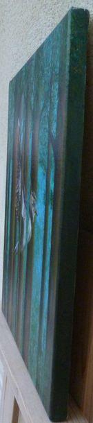 """Bonnet Myriam """"LIberté tu es,"""" Huile sur toile 38 x 46 cm signée en bas à droite...."""