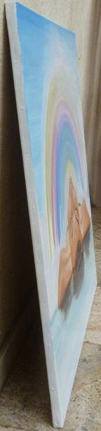 """Bonnet Myriam """"Voyage spa-ciel"""" Huile sur toile 80 x 80 cm signée en bas à droite...."""