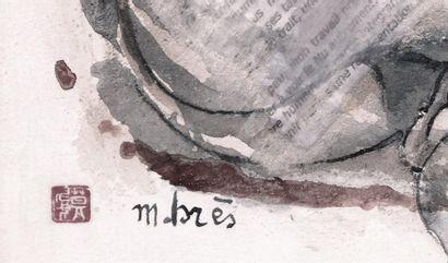 """BRES Monick (née en 1946) """"En boule"""" Encre sur mortier et collage récit de l'artiste..."""