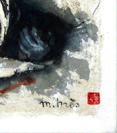 BRES Monick (née en 1946) ASSOUPIE  50 x 50 x 2,5 cm  Encre ey mortier de texture...