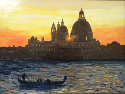 """ALEXANIAN Georges """"Soleil couchant sur Venise. Vue sur le grand canal."""" Huile au..."""