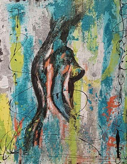 """CB.MILLET """"Suggestion"""" Acrylique sur toile 100 x 81 cm signée.    Frais de transport..."""