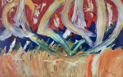 """ALEXANIAN Georges """"HAZAD, (libre)"""" Huile au couteau sur toile 116 x 81cm encadrée..."""