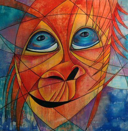 """GIRONDÉ Marie """"Bonobo"""" Huile sur toile 80 x 80 cm signée.    Frais de transport offerts..."""