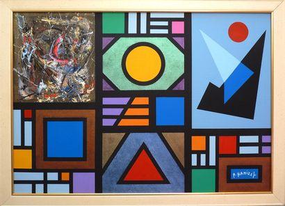"""HANIZET Raymond """"Composition Géométrique, Kaléido & Modules (3767)"""" Acrylique et..."""