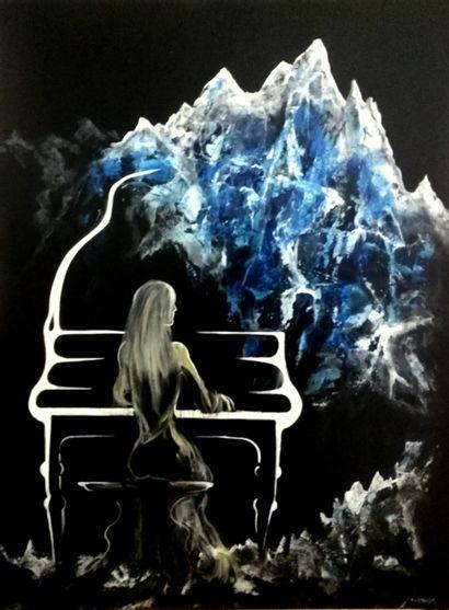 """GAIDA Philip """"Concerto sur les cimes"""" Acrylique sur toile 60 x 80cm signée.    Frais..."""