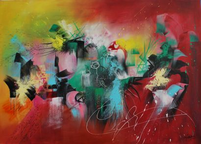 """RODRIGUEZ Dany Charlotte """"Intensity"""" Acrylic on canvas  130 x 90 cm signed lower..."""