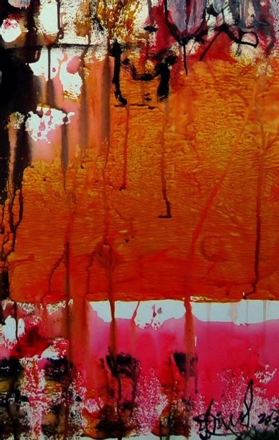 """DONNEAUD Jacques """"Graffiti Musical"""" Technique mixte sur toile (acrylique, encre et..."""