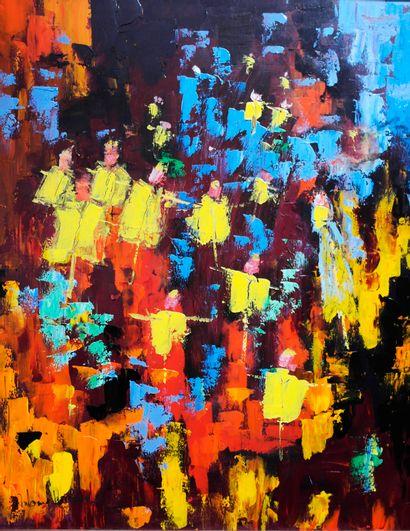 """RUBINAT Antoine """"Sans titre"""" Acrylique sur toile 80 x 100 cm signée.    Frais de..."""