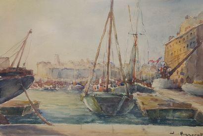 """HONNORAT Jean (1888-1969) """"L'ancien carénage du Vieux-Port de Marseille"""" Aquarelle..."""