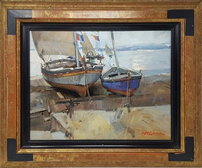 """FENOUIL Hervé (1936) """"Barques sur la plage"""" Huile sur toile de 1991, 33x41cm et 48x56..."""