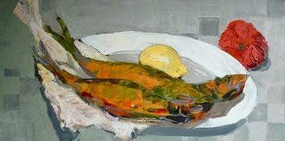 """SCHMITT Jean-Paul """"Nature morte aux harengs"""" Acrylique sur toile 50 x 100 cm signée...."""