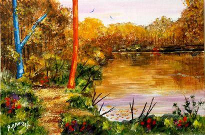 """HANIZET Raymond """"Meyrieux (3785)"""" Acrylique sur toile 40 x 27 cm signée.    Frais..."""
