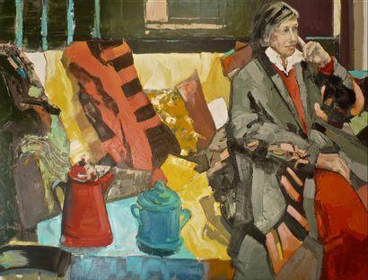 """SCHMITT Jean-Paul """"Femme au canapé jaune"""" Huile sur toile 89 x 116 cm signée.    Frais..."""
