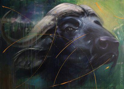 """DELAGACHETTE """"Buffalo"""" Acrylique sur toile 140 x 100 x 4 cm signée au recto signée..."""