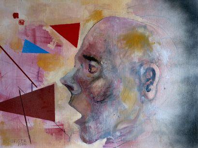 """HILFIGER Nicolas """"Rêver sous la peau"""" Peinture à l'huile aérosol sur toile 81 x 60..."""