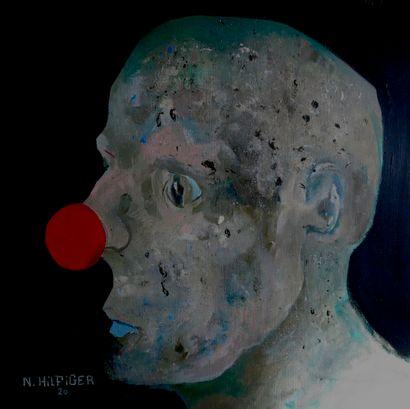"""HILFIGER Nicolas """"Un clown"""" Peinture à l'huile sur toile 50 x 50 cm signée.    Frais..."""