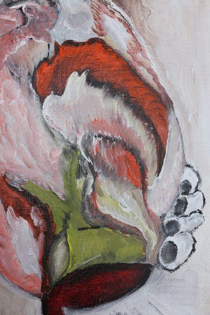 """KARLY ET ANNE V """"Le condor masqué"""" Acrylique sur toile 80 x 80 x 4 cm signée au dos...."""