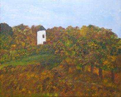 """DE SCHOUEL Kyna """"Le moulin abandonné"""" Acrylique sur toile 55 x 46 cm signée.    Frais..."""