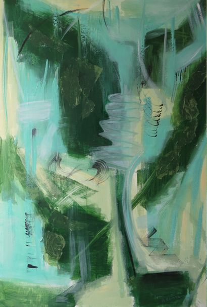 """URVOAZ Annick """"Renewal"""" Acrylic on canvas 89 x 130 cm signed.    Free shipping to..."""