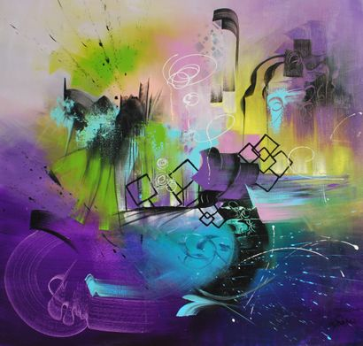 """RODRIGUEZ Dany Charlotte """"Harmony"""" Acrylic on canvas  120 x 120 cm signed lower right...."""