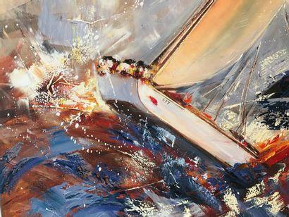 """MALIVANI Diana """"Regatta"""" Huile sur toile 120 x 150 cm de 2018 signée en bas à droite...."""