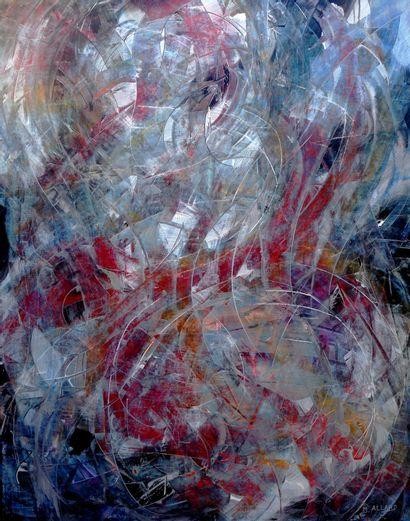 """ALLARD Michel """"Flamenco"""" Acrylique cires médiums sur papier marouflé sur toile 110..."""