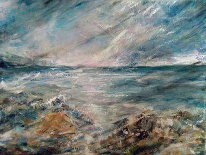 "PINON Céline ""Sky foam"" Oil on canvas 30 x 40 cm signed.    Free shipping for metropolitan..."