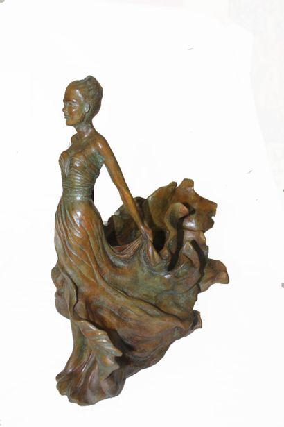 """CANTIN Josiane """"Légèreté"""" Bronze Sculpture H : 45 cm L : 36 cm W : 22 cm Le Floch..."""