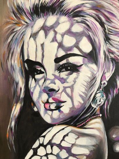 """PERUGINI Martine """"Soleil de Callas 2"""" Peinture acrylique sur toile 46 x 55 cm encadrée..."""