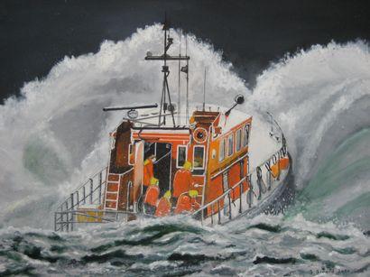 """GIRARD Serge """"Sauvetage en mer"""" Huile sur toile 65 x 50 cm signée.    Frais de transport..."""