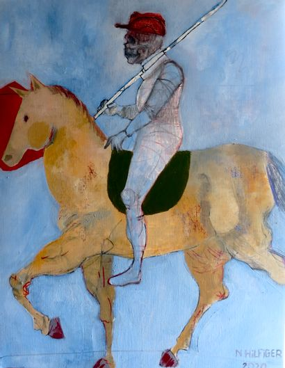 """HILFIGER Nicolas """"The Horseman"""" Oil on canvas 65 x 50 cm signed.    Free shipping..."""