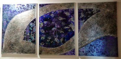 """NIKA """"Triptyque"""" Acrylique, métal, verre et résine sur verre 210 cm x 100 cm signée..."""