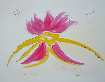 """PALACIOS-DUPONT Solange """"Variation rose 7 thales"""" collection Sable et algues. Huile..."""